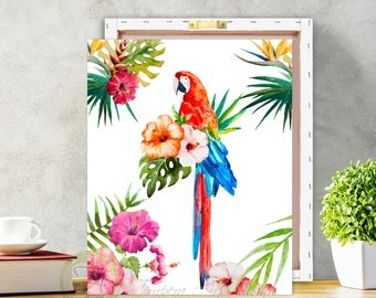 Macaw Parrot, Tropical Parrot Print, Tropical Parrot Wall Art, Colourful Bright, Tropical Decor, Palms Art, Parrot, Macaw Bird Parrot, Macaw