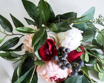 Ruby Berry Blush Silk Flower Wedding Bouquet