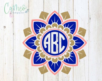 Floral Mandala Monogram Decal, Floral Mandala Decal, Floral Mandala Monogram, Monogram Mandala Decal, Car Decal, Personalized Decal,