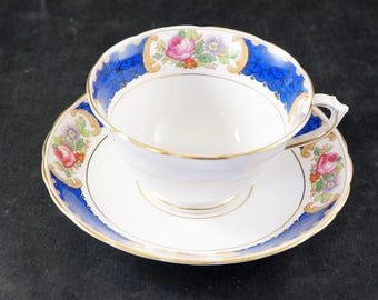 Tuscan Fine Bone China Cup and Saucer Blue with Flowers