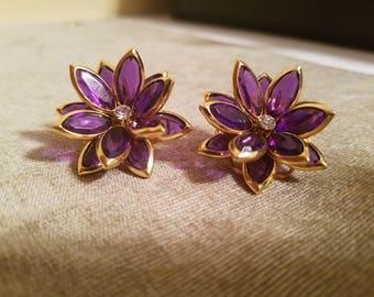 Vintage purple flower earrings