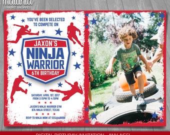 American Ninja Warrior Invitation - Ninja Warrior Invite - American Ninja Warrior Ninja Birthday Printed Invite Party with photo (NWIN03)
