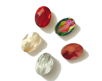 set of 5 different colors 14 x 10 mm Swarovski Crystal stones