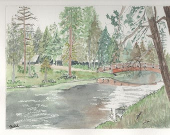 The bridge watercolor painting