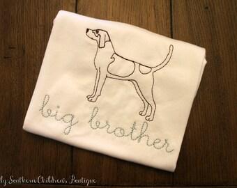 big brother shirt- hound dog big brother shirt with personalization- custom big brother shirt