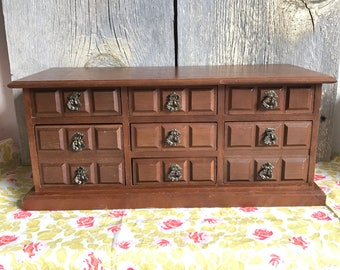 """Large 7 drawer wooden musical jewelry box """"raindrops keep falling on my head"""""""
