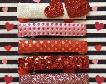 Valentine's Day Glitter Clip Set