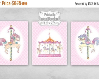 SALE Printable Carousel Horses Merry Go Round Baby Nursery Wall Art Decor Pink Clover Child Kids ~ DIY Instant Download ~ 3 5x7 Prints