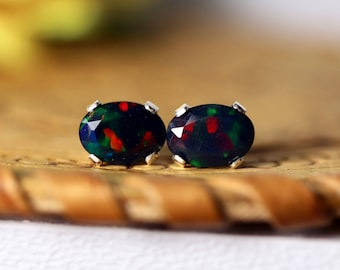 Mixed red and green fire colors black opal studs, opal earrings, fire opal studs, black opal studs,opal earrings, fire opal, black fire opal