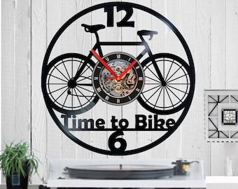 Vinyl clock,Bike,Cyclist,Bike clock,BMX bike,Bike wheel,Gift for Cyclist,Cyclist,Vinyl record,wall clock,Bike wall art,Bike gift,handmade