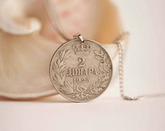 Yugoslavia Coin Necklace in Silver Colour. 2 Dinara, Yugoslavian Coin, 1925.