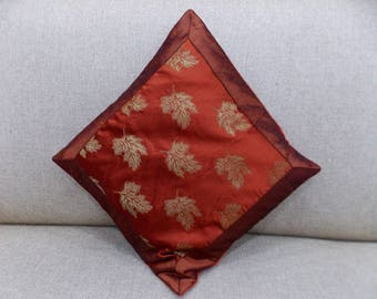 """Indian Pure Silk Cushion Cover Home Floral Decorative Orange Color Size 17x17"""""""