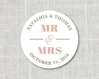 Mr And Mrs Stickers Personalized Wedding Save The Date Favor Invitation Envelope