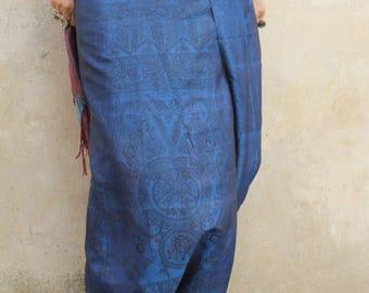 afghan silk skirt blue