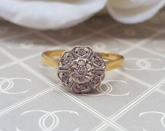 Vintage 18ct Yellow Gold Diamond Cluster Foral Ring