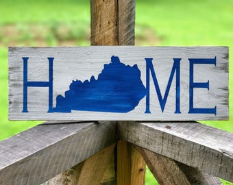 Kentucky Decorations , Kentucky Sign , Blue and White Sign , Wood Sign , Rustic Wood Sign , Kentucky Home Sign , Rustic Home Sign