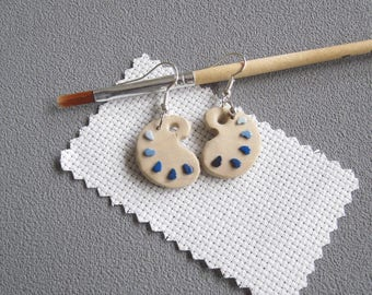 Painter's palette earrings and paint blue in polymer clay fimo, imitation wood, gift idea teacher, earrings blue and wood