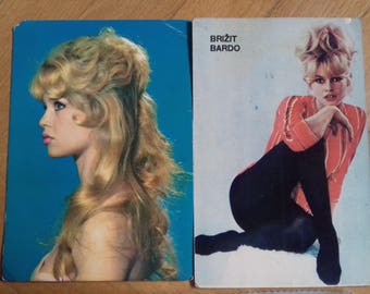 Lot of 4 Vintage Postcards of Brigitte Bardot from Yugoslavia-60's-Unused