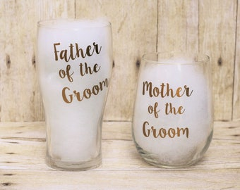 Father & Mother of the Groom Glasses-Father of the Groom Pilsner Glass-Mother of the Groom Stemless Wine Glass-Wedding Gift-Parent Glasses