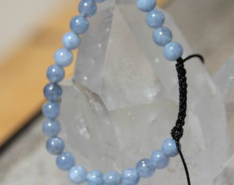 shamballa bracelet with aquamarine bead