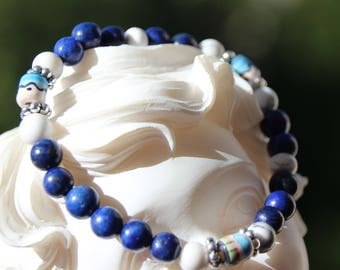 lapis howlite and pearl bracelet from Peru