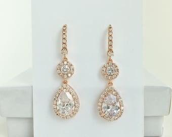 Rose Gold Cubic Zirconia Earrings Rosegold Bridal Earrings Rosegold Crystal Earrings Rose Gold Bridesmaids Jewelry Rosegold Wedding Jewelry