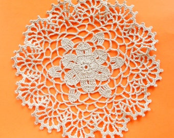 7 inch Doily, Beige Crochet Doily, Ecru Small Coaster, Handmade Gift for Her, Beige Table Decoration, Cream Crochet Table Setting