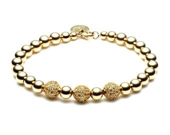 Ball bracelet • limited Pavé ball • gold