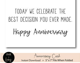 Printable Anniversary Card || funny anniversary, gift for wife, gift for husband, printable greeting card, 5x7 greeting card, wedding card