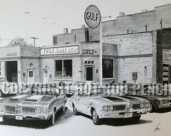 Oldsmobile 442 66-71 personalized  Pencil Drawing Print