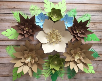 Set of 9 paper flowers /safari theme /safari party
