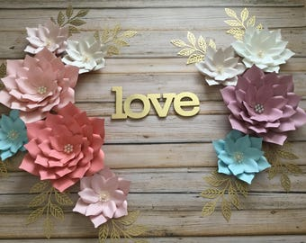 Set of 10 paper flowers/nursery decor/ nursery room/ girls room/ paper flowers backdrop