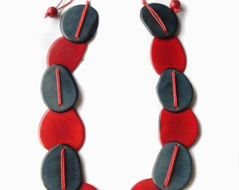 Multi-color long necklace made in Tagua nut