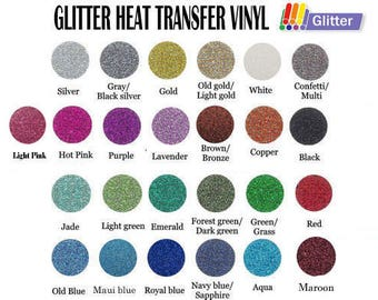 "12"" x 20"" Glitter Heat Transfer Vinyl - 23 Colors Available"