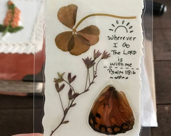 REAL Four Leaf Clover Collage Wallet Card