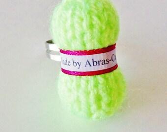 Adjustable ring (customizable) neon yellow yarn