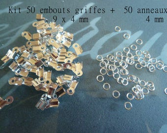 Kit: Tips for cordon9x4mm + rings 4mm clasps-