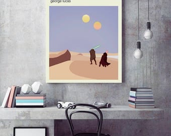 the phantom menace poster, Star wars  minimalist poster, Star wars travel poster, R2D2 poster, S3PO art, Tatooine poster