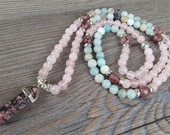 ON SALE!!! Necklace mala bracelet 108 stones pink quartz, amazonite and rhodonite