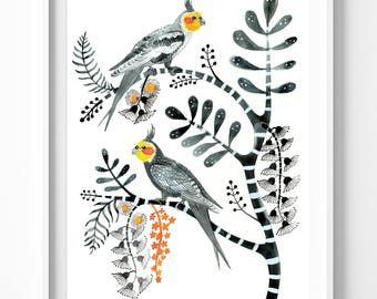 Grey Cockatiels and Gum Blossoms, Large A2 Limited Edition Giclée Print. Bird art print, Hollywood regency, botanical, Australian, couple
