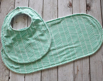 Mint Baby Bib and Burp Cloth Set