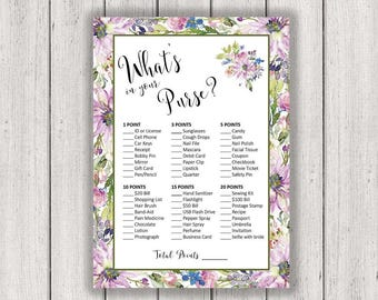 BRIDAL SHOWER GAME What's In Your Purse Printable Bridal Shower Game Boho Chic Bridal Asters Violets Wedding Purple diy, B300