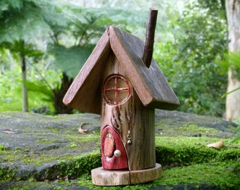 Wooden Fairy House with Opening Red Door, Round Resin Window, Gnome Home, Tree Branch House