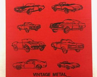 "Muscle Car Screen Print Art By Maria B. Hand Drawn Screen Print ""VINTAGE METAL"" Classic Car Canvas Art."