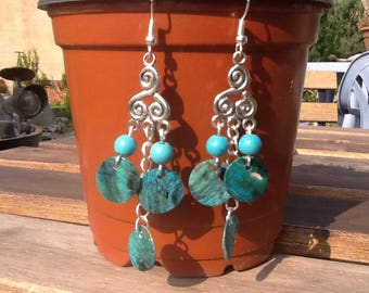 PAIR earrings pendant in Turquoise and Blue Pearl sequin