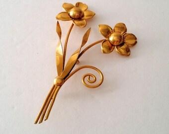 STERLING Vermeil Gold Large Floral Brooch