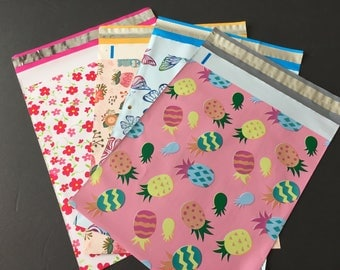 100  10x13 SPRING and EASTER Assortment Butterflies Rabbits Flowers Pineapple Designer Poly Mailers 25 each Envelopes Shipping Bags Spring