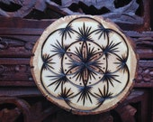 "3"" Wood Burned Magnet - Handmade Wood Magnet, Sacred Geometry Art, Bohemian Magnet"