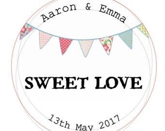 48 x personalised wedding Sweet Love stickers
