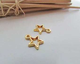 Star 10 charm 14 x 10 mm pendant in metal gold-hole 1.5 mm - 479.22